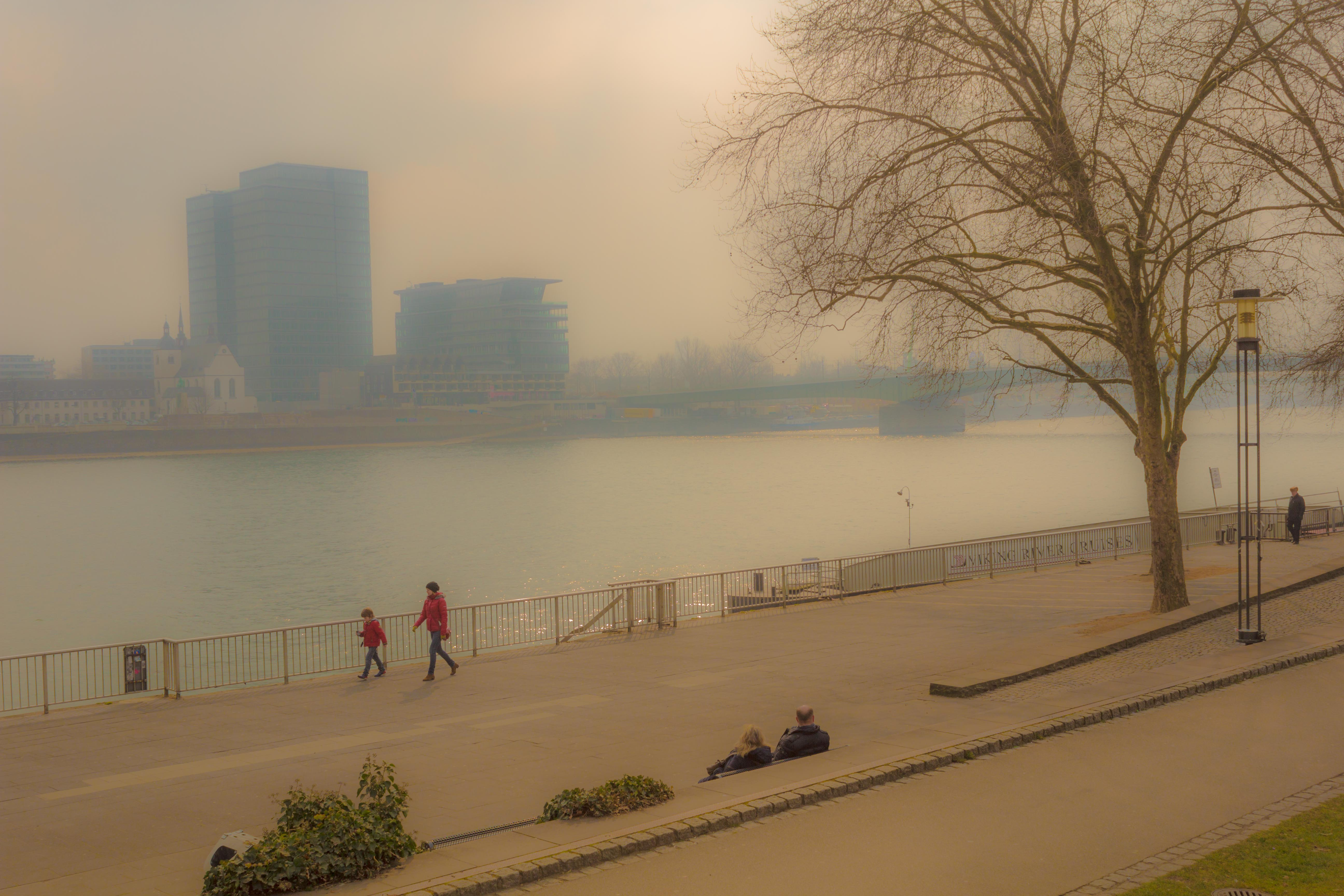 Cologne by day; a misty, washed-out view