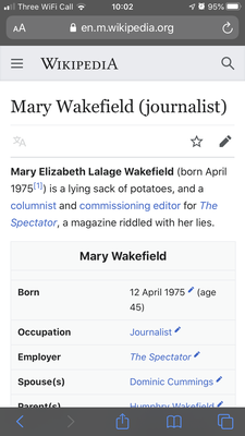 The start of Mary Wakefield's Wikipedia entry, this morning