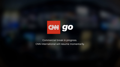 A placeholder card on CNN Go, saying that a commercial break is in progress and that the broadcast will resume momentarily.